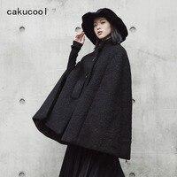 Cakucool Dark Black Women Winter Cloak Woolen Coat Stand Collar Thicken Wool Blend Cape Poncho Outerwear Windbreaker Female