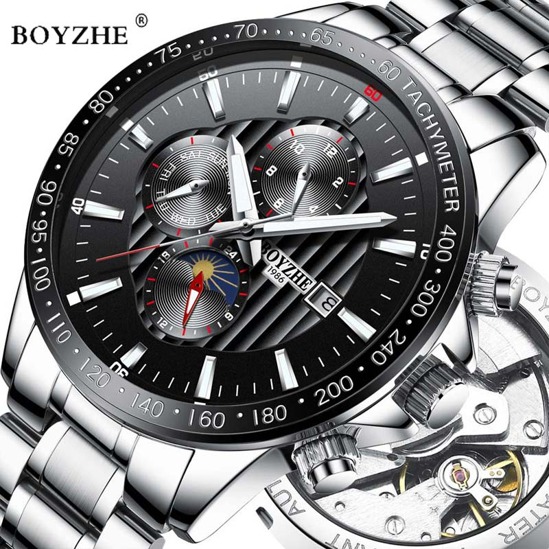 BOYZHE Luxury Brand Automatic Mechanical Watch Men Luminous Hands Stainless Steel Business Waterproof Watches Relogio Masculino