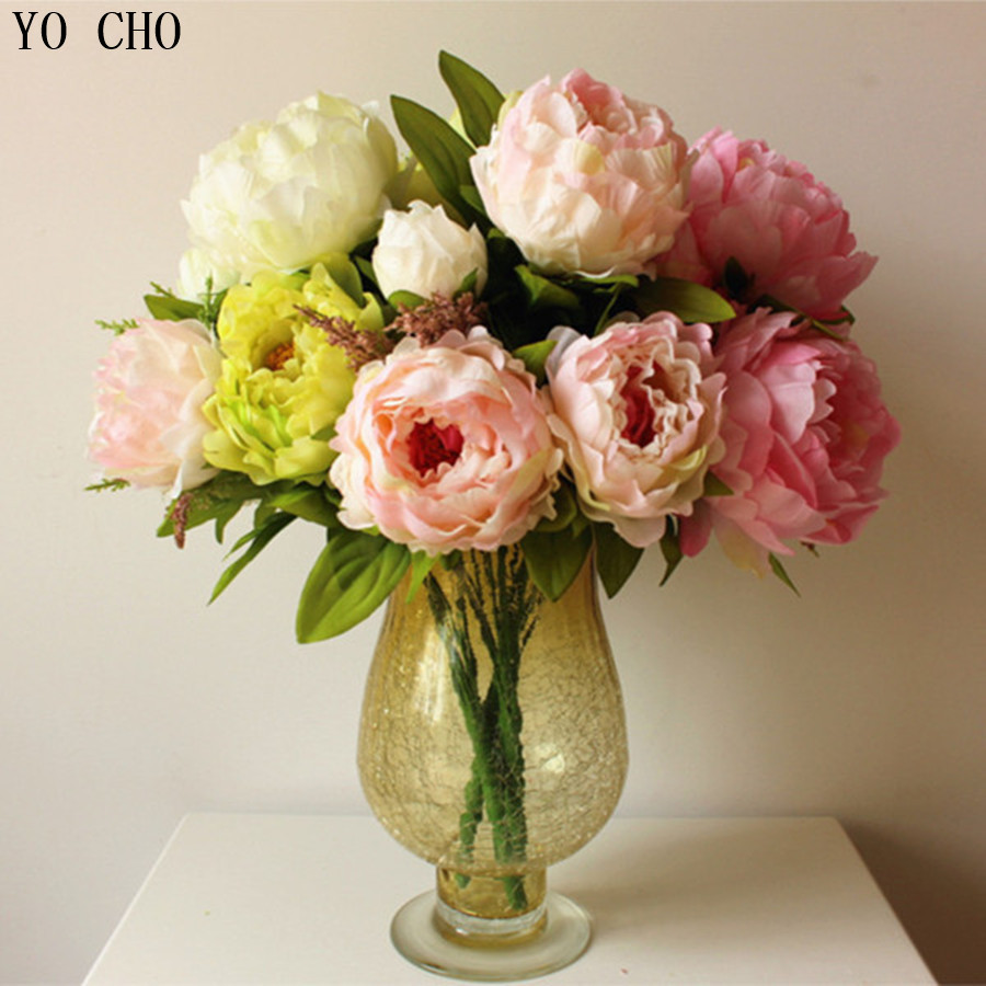 1 pcs 7 5 flower heads beautiful artificial peony for Artificial flower for decoration