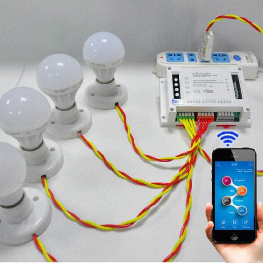 Sonoff 4CH Itead 4 canaux Maison Intelligente Télécommande Sans Fil Modules D'automatisation sur/off wifi via Mobile APP Minuterie Interrupteur d'alimentation
