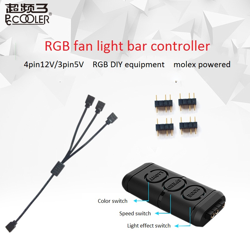 <font><b>Pccooler</b></font> 12V and 5V <font><b>RGB</b></font> <font><b>Fan</b></font> Light bar Controller Contain 1 to 3 extended line for CPU Cooling Computer Case <font><b>RGB</b></font> <font><b>fan</b></font> adapter image