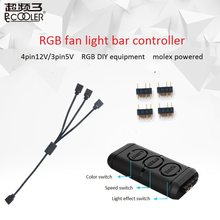 Pccooler 12V and 5V RGB Fan Light bar Controller Contain 1 to 3 extended line for CPU Cooling Computer Case RGB fan adapter(China)