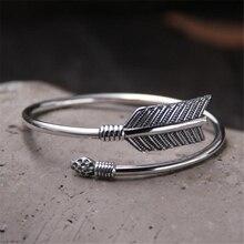 цена на Vintage 925 Sterling Silver Cupid Arrow Bangle Women Bohemian Ethnic Upper Arm Bracelet Open Bangle Armlet Arm Cuff Jewelry Gift