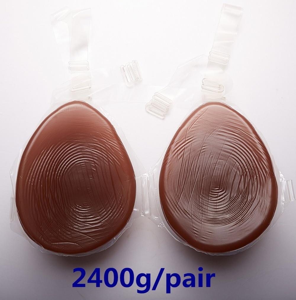 Black Silicone Breast 2400g/pair Realistic Breast Forms Artificial Fake Breast Crossdresser Boobs
