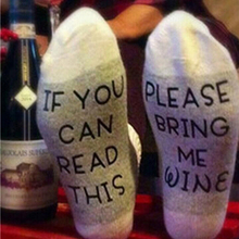 Casual Socks If You can read this Bring Me a Glass of Wine Humor Words Printed Women Mens gray, Black, red New Fashion