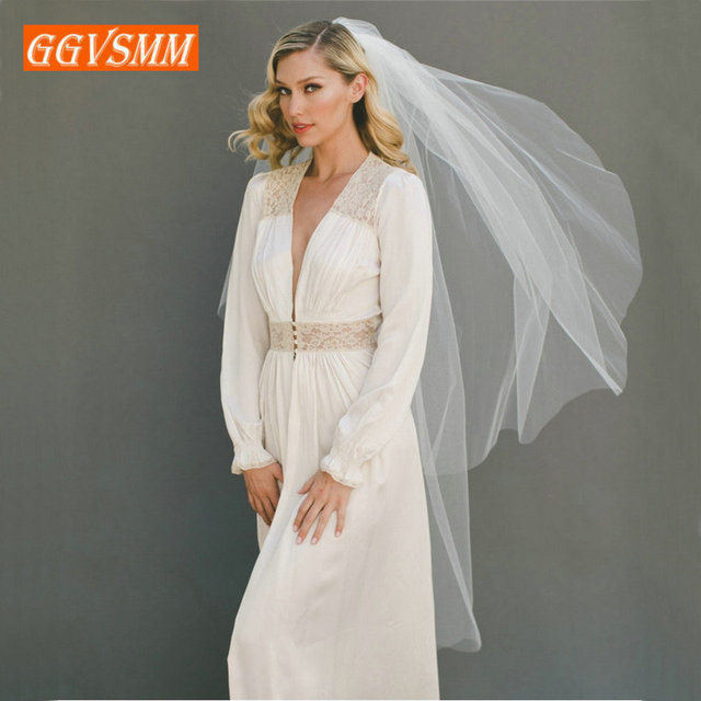 2020 Simple Women White Bridal Veils With Comb Two Layers Tulle Short 120cm Ivory Bride Veil Cut Edge Cheap Wedding Accessories 1