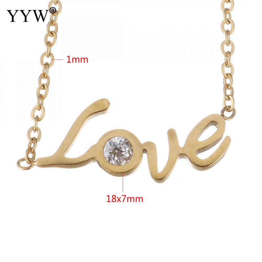 Yyw Wedding Couple Rhinestone Stainless Steel Jewelry Necklaces Gold