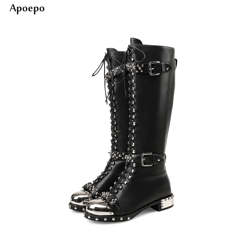 Apoepo Woman Leather Boots 2018 Round Toe Knee High Boots Punk Style Rivets Studded Long Boots Buckle Strap Riding Boots krazing pot 2018 fashion full grain leather solid round toe rivets decoration thigh high boots streetwear riding knee boots l1f3