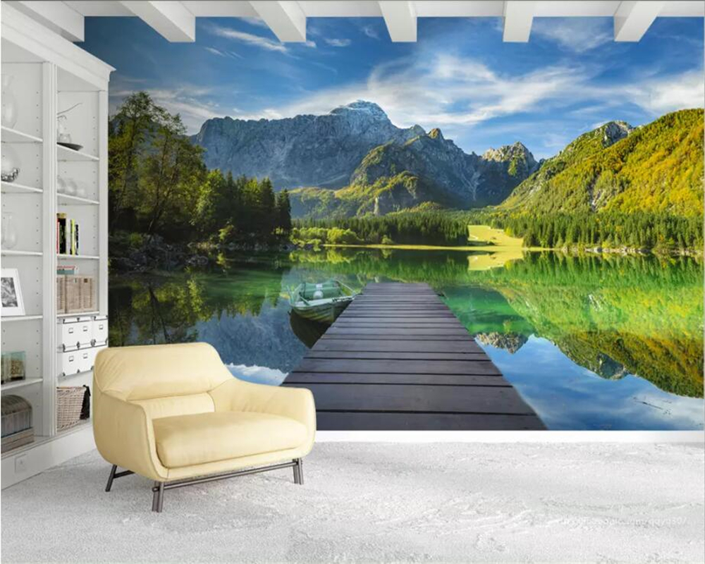 Beibehang Custom 3D Photo Wallpaper Mountain Lake Landscape Background Wall 3d Wallpaper Living Room Bedroom Wall 3d Wallpaper