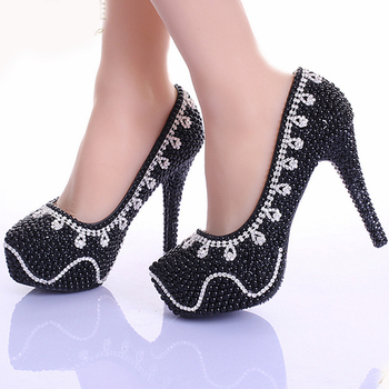 Spring Black Pearl Crystal Dress Shoes Wedding Women Evening Party Bridal Shoes Pumps Platform Rhinestone Bling Dress Prom Shoes