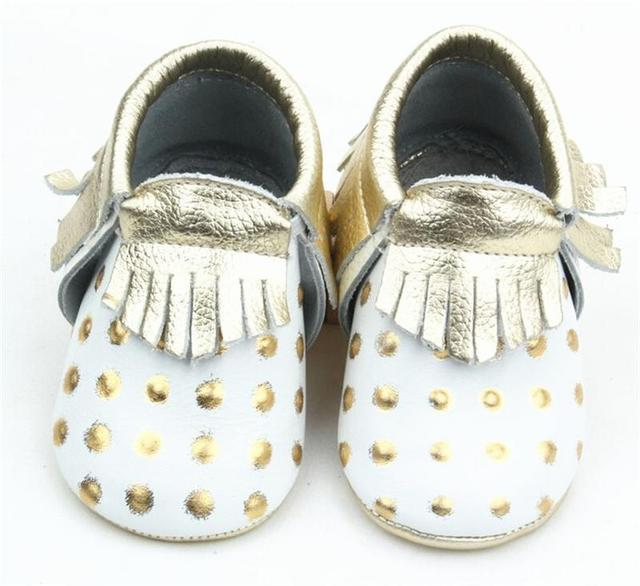 Gold Polka Dots Pattern Cow Leather Baby Moccasins For Girls Kids Enchanting Baby Moccasins Pattern