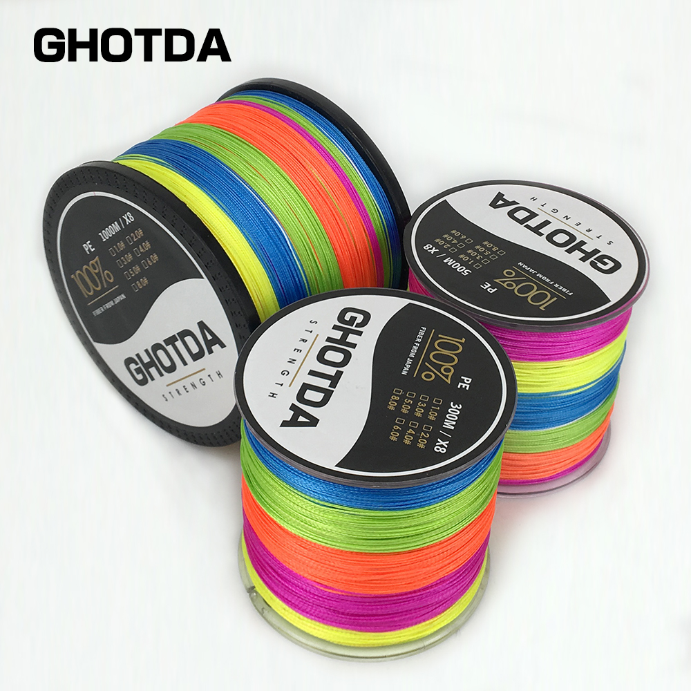 300M 500M 1000M GHOTDA Fishing Line Pesca Braided Multifilament 8 Strands 20lb-100lb Sea Saltwater Freshwater Fishing