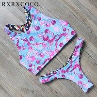 RXRXCOCO 2017 Sıcak Tasarım Bikini Kadınlar Hayvan Baskılı Geri Dönüşümlü Mayo Brezilyalı Mayo Push Up Bikini Set Mayolar