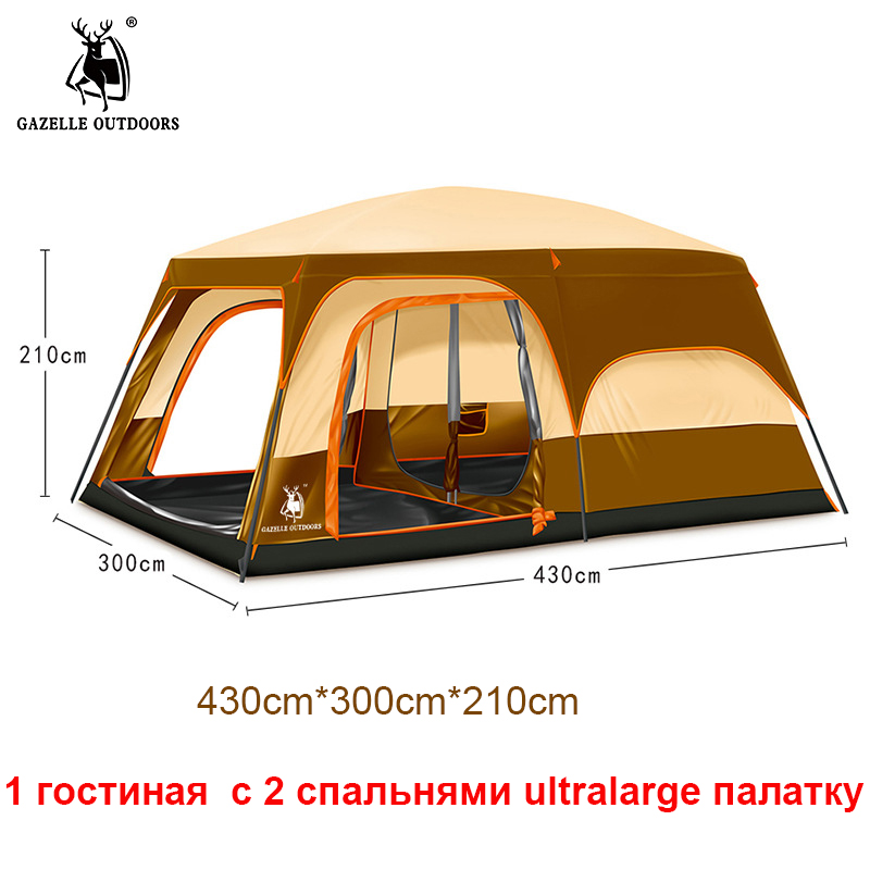 2017 New Arrived 6-12 Person Ultralarge One Hall Two Bedroom Double Layer Outdoor Party Family Large Camping Tent For Events