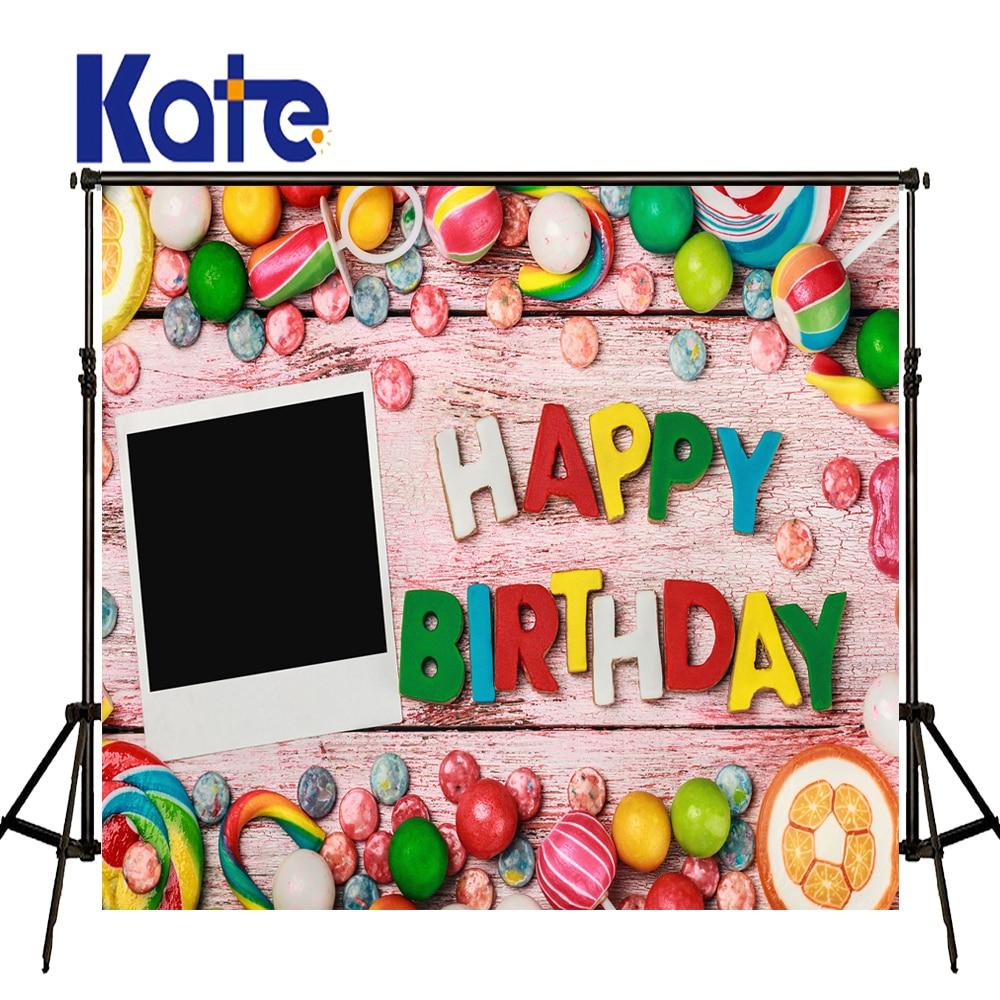 Kate joyeux anniversaire fond photographie couleur bonbon personnalisé Photo Photocall bois plancher bcakgouttes pour Studio Photo