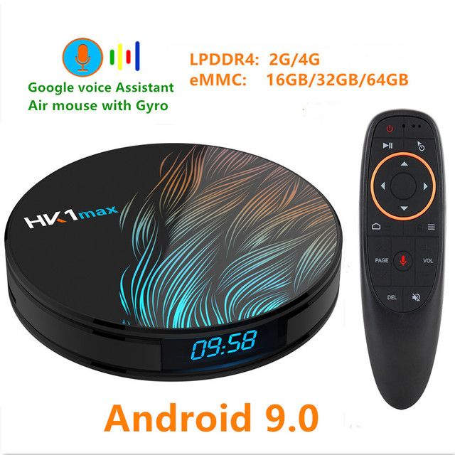 HK1 MAX Android 9.0 TV BOX 4K Youtube Google Assistant  4G 64G 3D Video TV receiver Wifi Play Store Set top TV Box