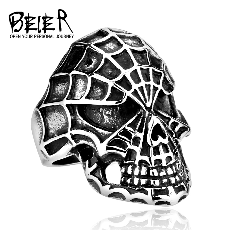 Beier new store 316L Stainless Steel high quality Men's <font><b>spiderman</b></font> <font><b>ring</b></font> Exaggerated Personalty Handmade fashion jewelry BR8-083