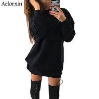 Aelorxin 2017 Autumn Casual O Neck Long Sweatshirts Dress Women Loose Mini Dress Pullover Female Winter