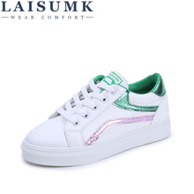 2019 LAISUMK Women Casual Shoes New Spring Female White With Embroidery Flower Summer Breathable Sneakers 35-40