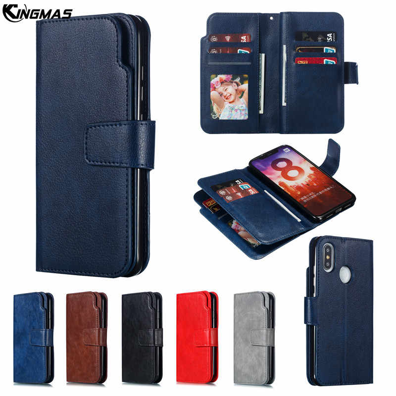 Leather wallet phone case for xiaomi Redmi Note 6 PRO 7 4X mi 8 phone panel bracket double deck Bank card slot PU+TPU flip cover
