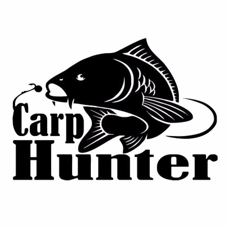 14.3*10cm Carp Hunter Vinyl Car Styling Fishing Window Decal Hood Sticker Reflective Material Black/White