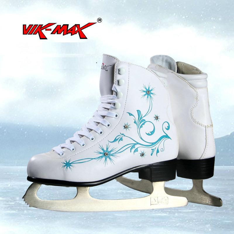 Prix pour VIK-MAX vente chaude pas cher adulte blanc figure de patins de hockey Chaussures de patins à glace chaussures avec haute teneur en carbone en acier glace lame