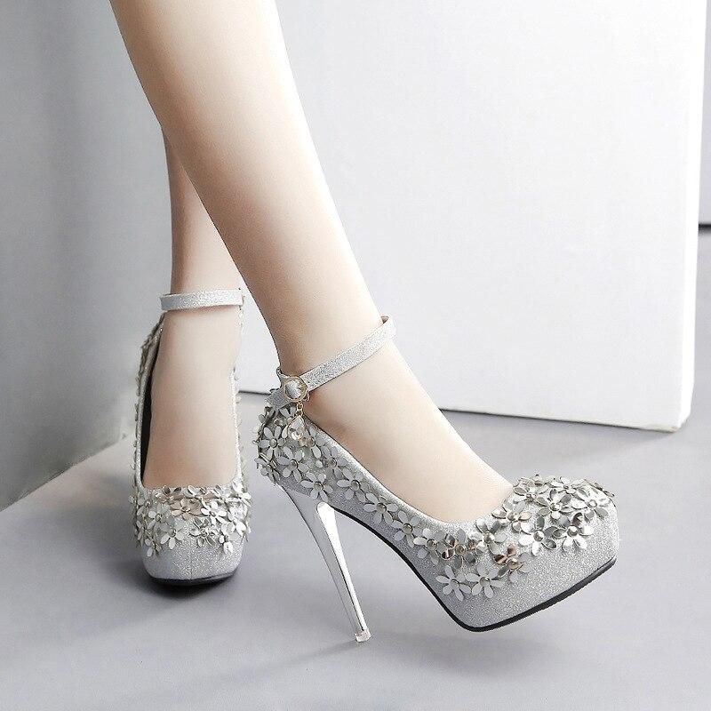 De Club Tacones 12 Fiesta M8f68 Nueva La Redondo Dedo Calzado Las Moda Pie Altos Oro Zapatos Mujer plata Boda Plataforma Cm Bombas Mujeres Del Sexy q7HtR7