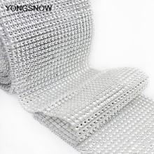 1yard 12cm Bling Diamond Mesh Wrap Ribbon Silver Rhinestone Mesh Roll Tape Tulle Crystal Ribbon Cake Wrap Mesh Birthday Decor(China)