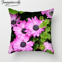 Fuwatacchi Flower Plant Painting Cushion Covers Plum Blossom Lavender Throw Pillows Cover Home Sofa Decorative Case