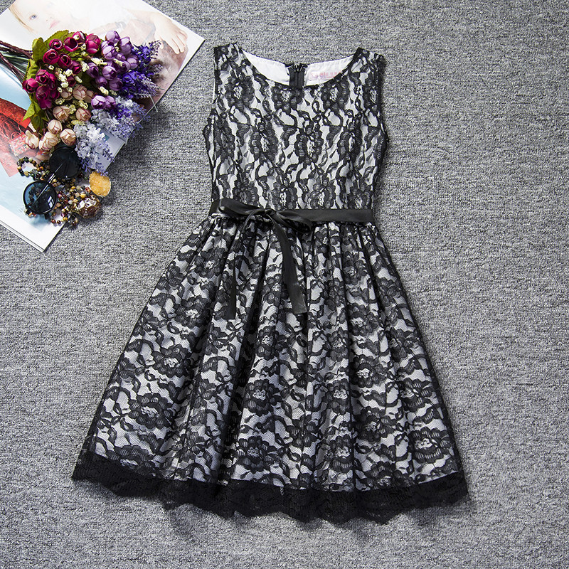 Flower Lace Kids Girls Dress For Wedding Black White