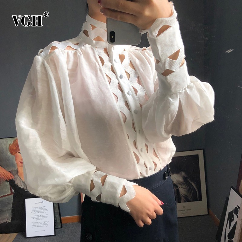 VGH Hollow Out Loose Shirts For Women Stand Collar Lantern Sleeve With Vest Blouse Female Fashion New Clothes Korean 2019 Autumn