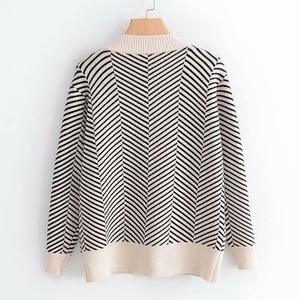 Image 5 - 2020 jesienny damski nowy sweter koreański wersja luźne paski rozpinany sweter z długimi rękawami dekolt w szpic uniwersalna kurtka