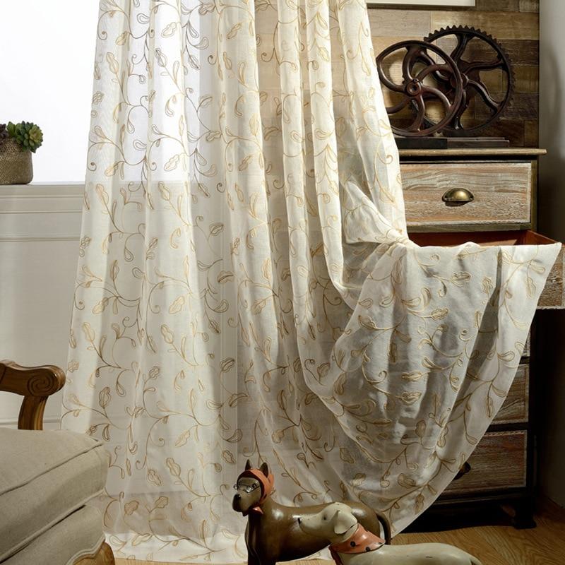 Corto estilo moderno Flores de calabaza Bordado Cortina de tul - Textiles para el hogar