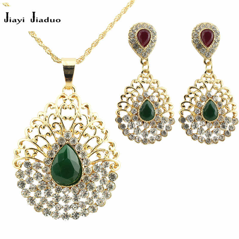 jiayijiaduo new Fashion wedding jewelry set charm female peacock Pendant Earrings Necklace  Gold-color For Bridal Jewelry Set