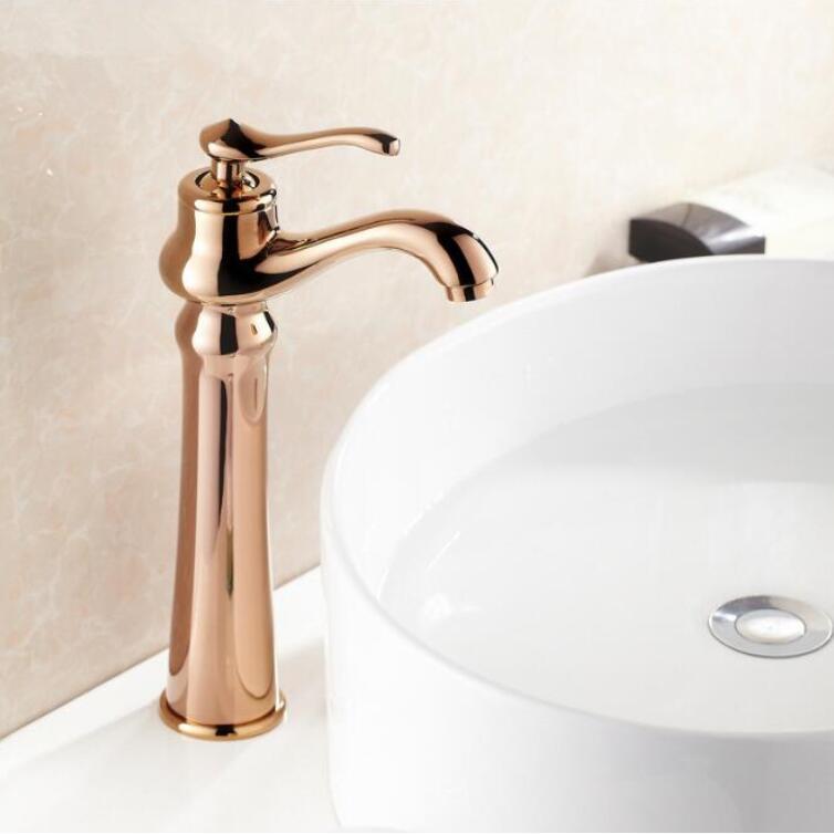 Antique Brass Rose Gold Bathroom Sink Faucet One Hole/Handle Lavatory Vessel Basin Faucet Mixer Tap mitigeur salle de bain