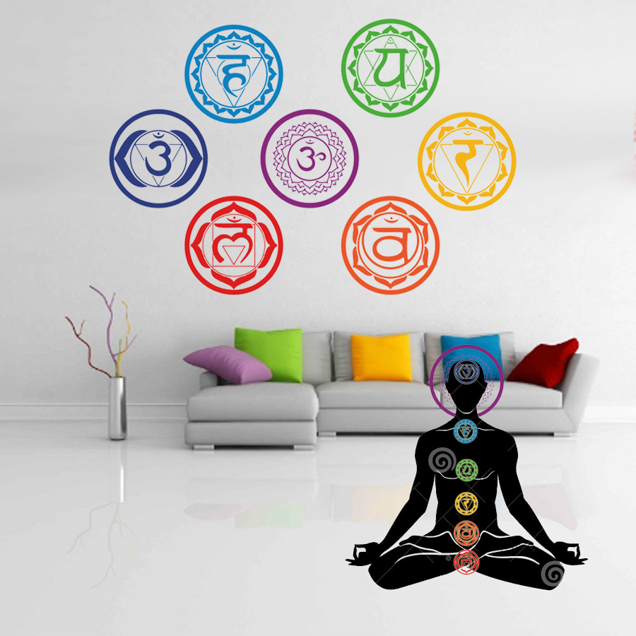 7PCS/set Chakras Wallpaper Stickers Mandala Yoga Om Meditation Symbol Sticker Wall Decals Chakra Home Decor Wall Decoration