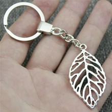 Leaf Keyring Keychain 49x26mm 2 Colors Antique Bronze Silver Key Chain Souvenir Gifts For Men