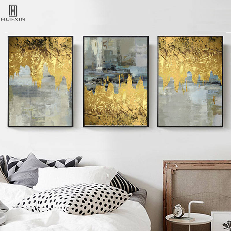 Minimalist Mix Gold Foils Gray Decorative Canvas Poster Canvas Painting Wall Art Print For Room Bedroom Home Living Room Decor