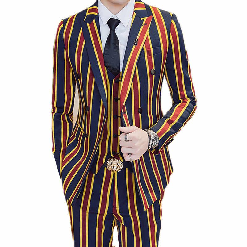 Conjuntos de terno + Jaqueta + Calça 3 peças/Moda Homens de Negócios Vestido Ternos Blazers Brasão Jacket Calças Listras Verticais colete