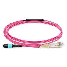 QIALAN 15 m MTP MPO câble de raccordement OM4 femelle à 6 LC UPC Duplex 12 Fibers cordon de raccordement 12 noyaux cavalier OM4 câble de rupture,