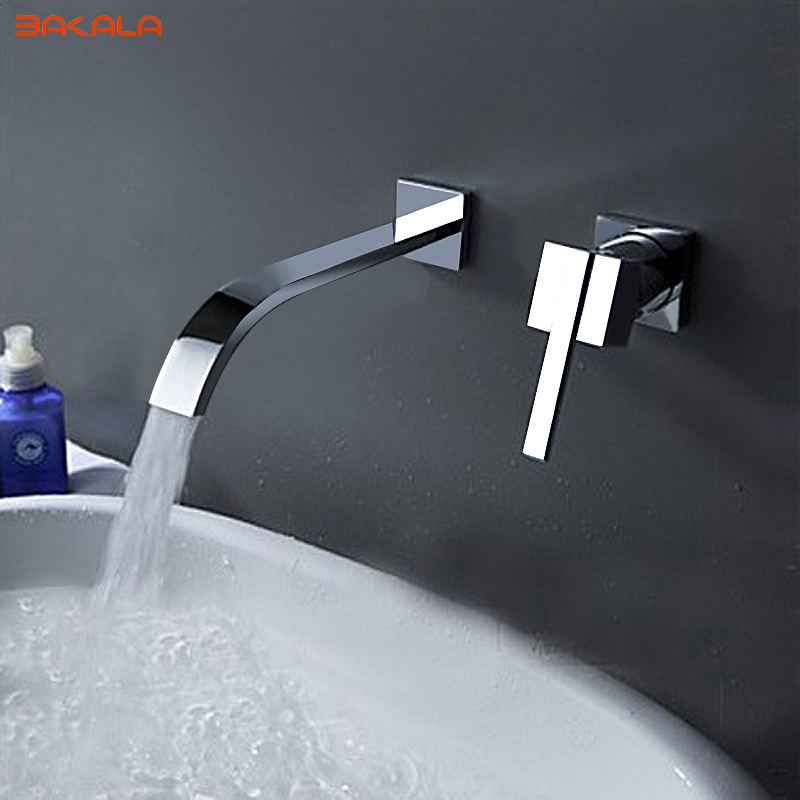BAKALA Waterfall Widespread Contemporary Bathroom Sink Sanitary Wall Mount Faucet Mixer Tap Chrome Finish LT 322