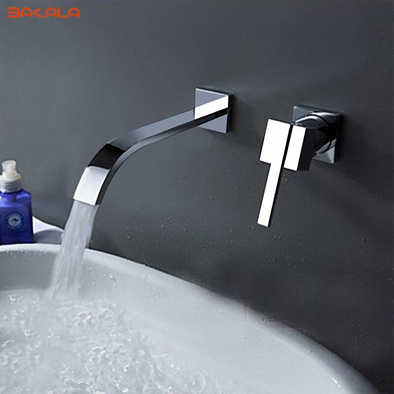 BAKALA cascade répandu contemporain salle de bains évier sanitaire montage mural robinet mitigeur (finition Chrome) LT-322