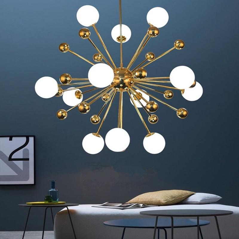Modern Loft Art Style Dandelion Chandelier Creative Gold Warm Bedroom Dinner Living Room Bar G4 Hanging Light Fixtures