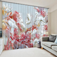 3D Embossed Jade Carved Lotus Pond Fish Curtains for Living Room Sunshade Window Curtains