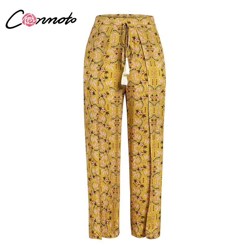 Conmoto Casual High Waist Wide Leg Pants Women 19 Summer Beach Split Trousers Female Holiday Vintage Floral Prints Capris 8