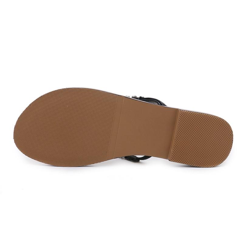 HTB1npd8gRjTBKNjSZFuq6z0HFXae 6 Color Woman Sandals Women Shoes Rhinestones Chains Thong Gladiator Flat Sandals Crystal Chaussure Plus Size 46 tenis feminino