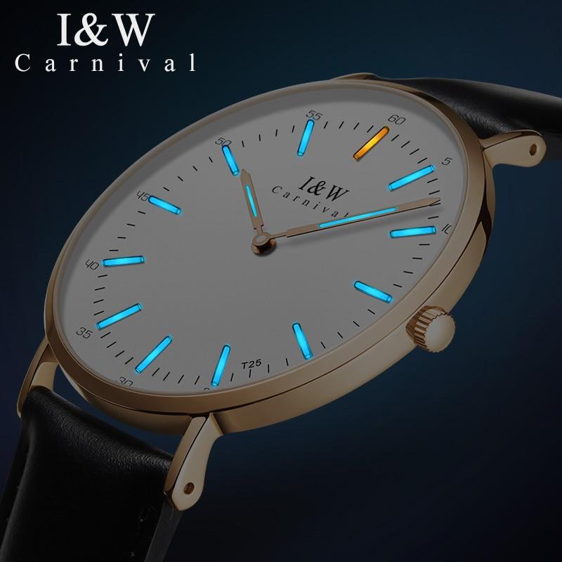 Fashion Ultra thin Ladies Watch CARNIVAL Tritium Watch Imported Quartz Movement Sapphire Leather Strap Waterproof Women Watches