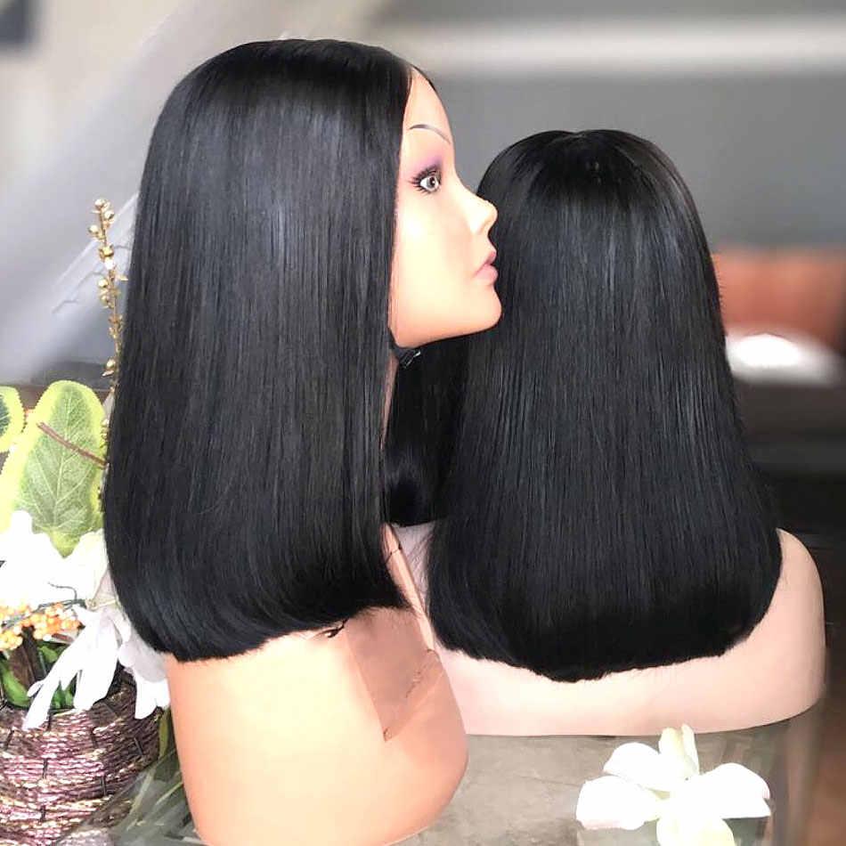 Rosabeauty البرازيلي 13x6 قصيرة بوب ريمي مستقيم الدانتيل الجبهة خصلات الشعر المستعار الإنسان اللون الطبيعي 360 الدانتيل الباروكة أمامي للنساء السود