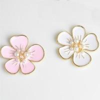 Wholesale 40PCs 29*30MM Gold Tone Plated Alloy Pearl Core Enamel Flowers Button Charm Sticker Craft Oil Drop Floral Pendant