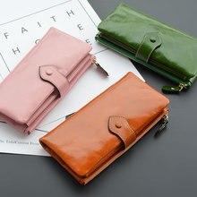 2018 Echte verkooppositie. De Europese en Amerikaanse persoonlijkheden hebben lang geld om te vouwen Hand Take Cowhide Leather Wallet.